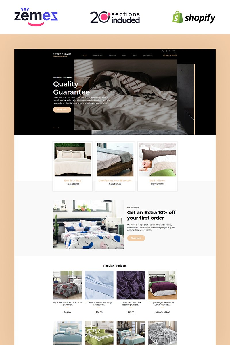 Sweet Dreams - Linen & Lace Multipage Elegant Shopify Theme