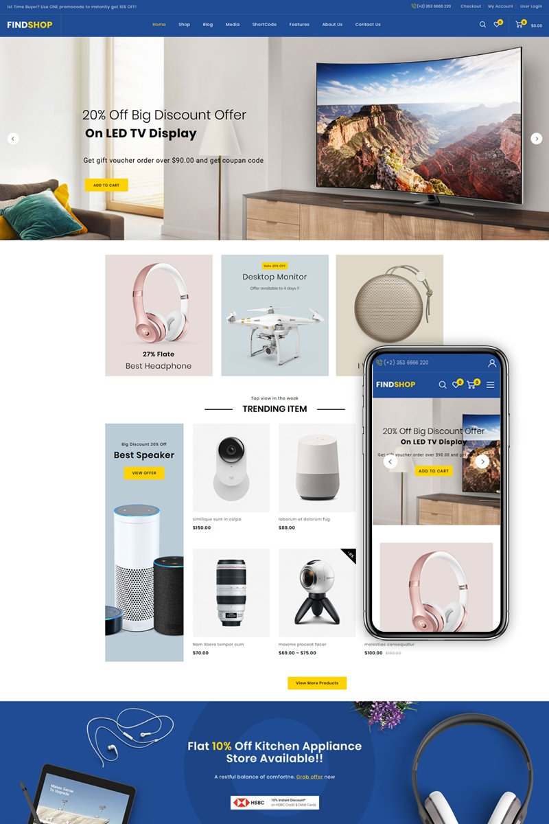 "WooCommerce Theme namens ""Findshop - Mega Store"" #84827"