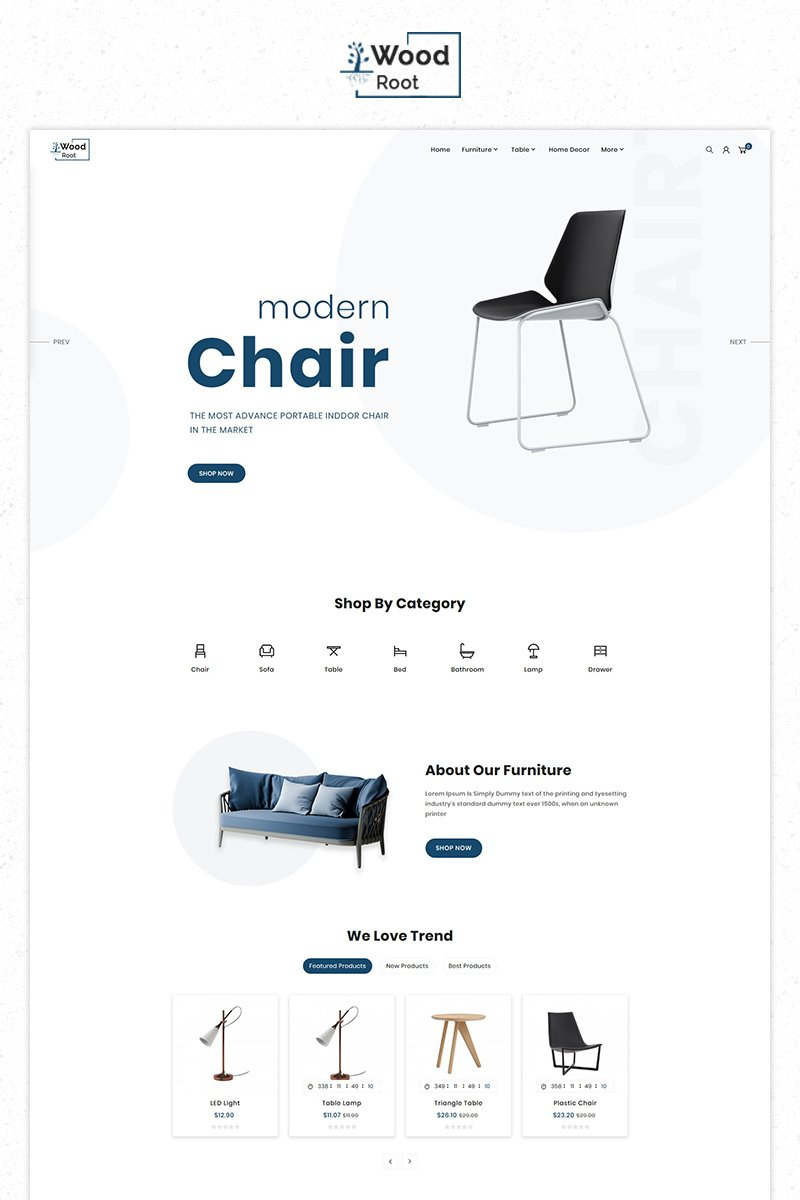 """Wood Root Furniture Responsive Premium Store"" PrestaShop Thema №84828"