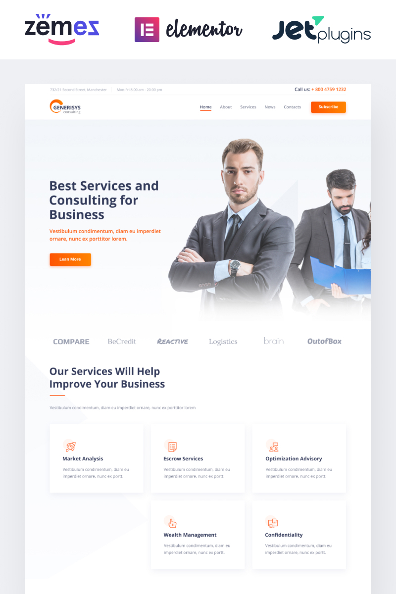 """Generisys - Business Consulting Multipurpose Classic Elementor"" Responsive WordPress thema №84989"