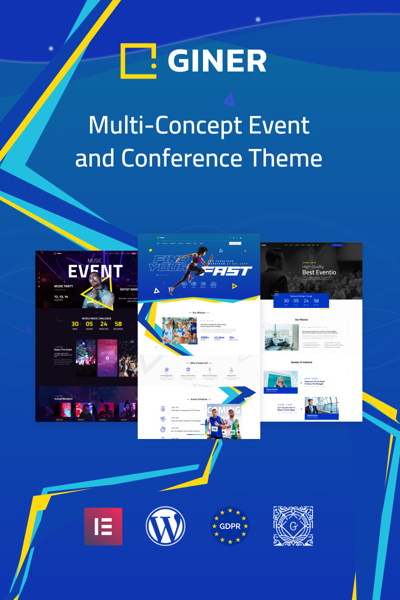 """Giner   Multi-Concept Event"" - WordPress шаблон №84944 - скріншот"
