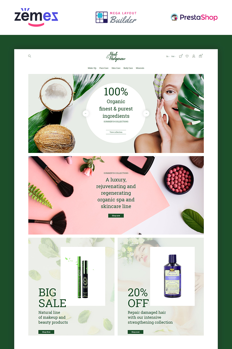Herb and Hedgerow - Organic Cosmetics Store Bootstrap Clean Ecommerce Tema PrestaShop №84942