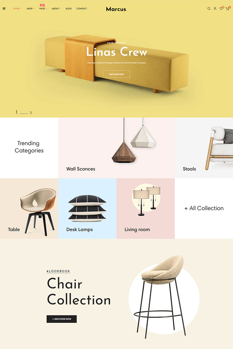 Marcus - Furniture & Home Decor Tema PrestaShop №84996