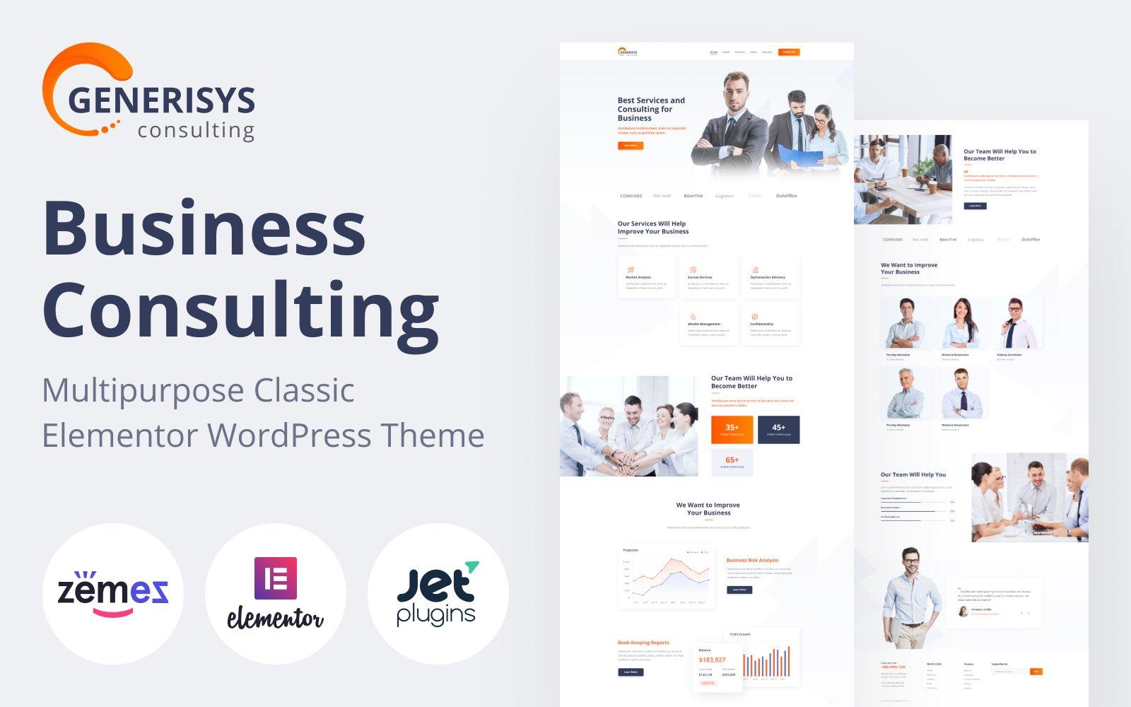 "Modello WordPress Responsive #84989 ""Generisys - Business Consulting Multipurpose Classic Elementor"""