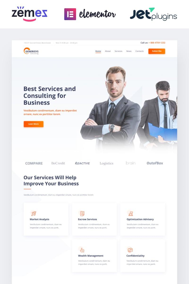 "Modello WordPress Responsive #84989 ""Generisys - Business Consulting Multipurpose Classic Elementor"" - screenshot"