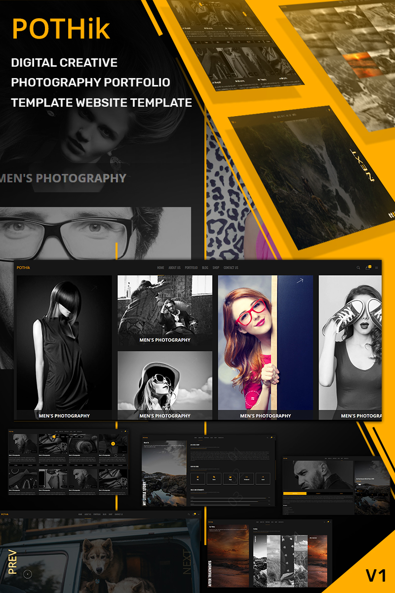 """Pothik - Digital Creative Photography Portfolio"" 网页模板 #84997 - 截图"