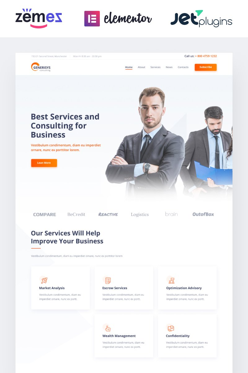 Responsivt Generisys - Business Consulting Multipurpose Classic Elementor WordPress-tema #84989