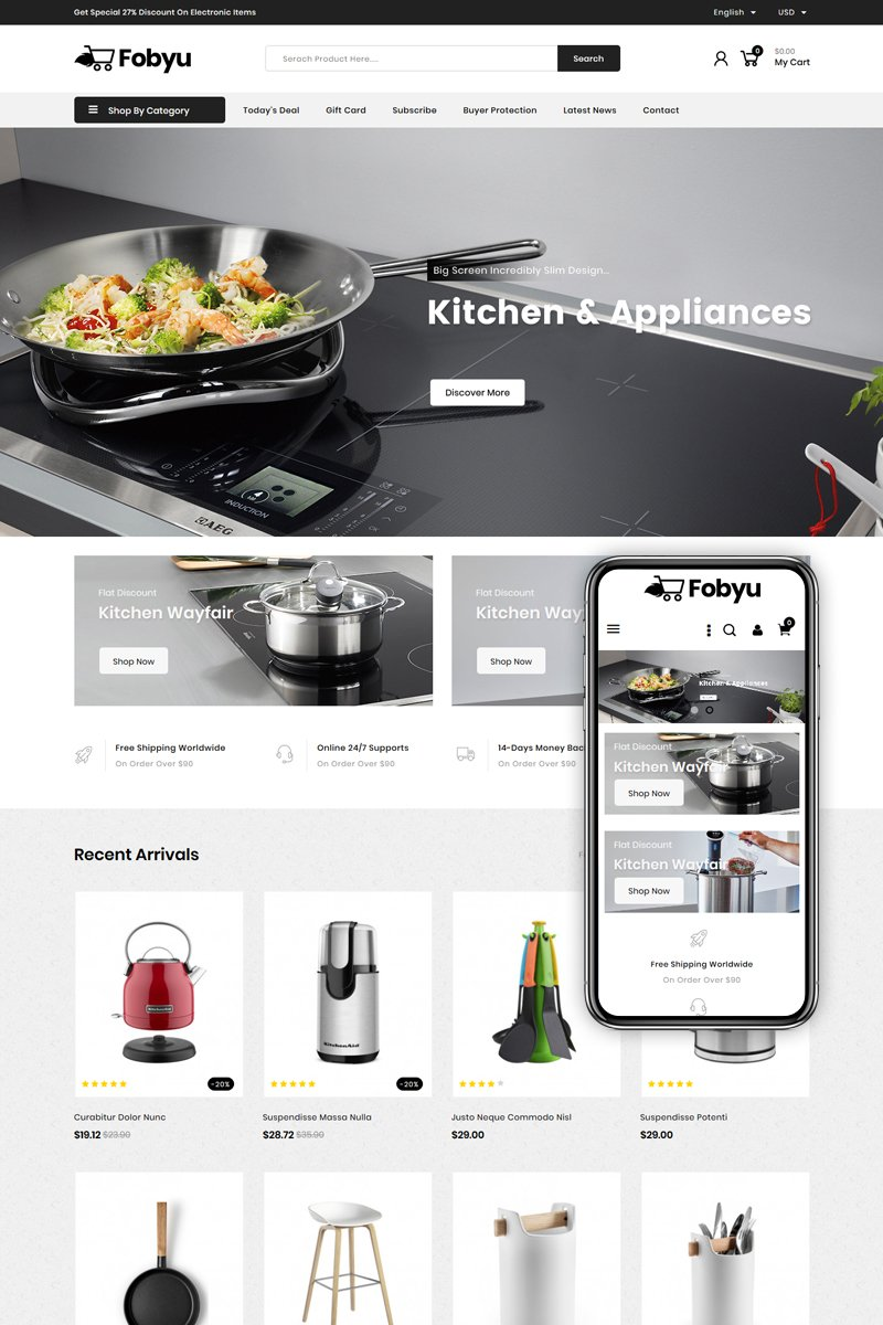 "Responzivní PrestaShop motiv ""Fobyu - Kitchen Appliances"" #84928"