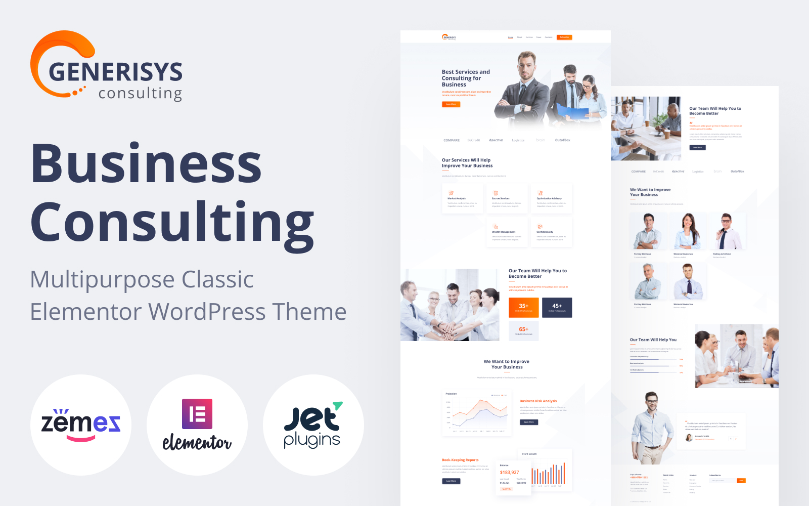 "Responzivní WordPress motiv ""Generisys - Business Consulting Multipurpose Classic Elementor"" #84989"