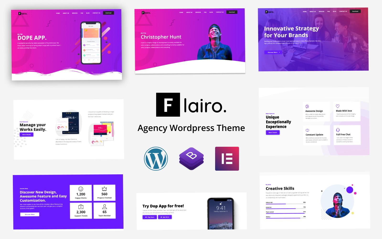 Reszponzív Flairo - Responsive Agency WordPress Theme WordPress sablon 84926