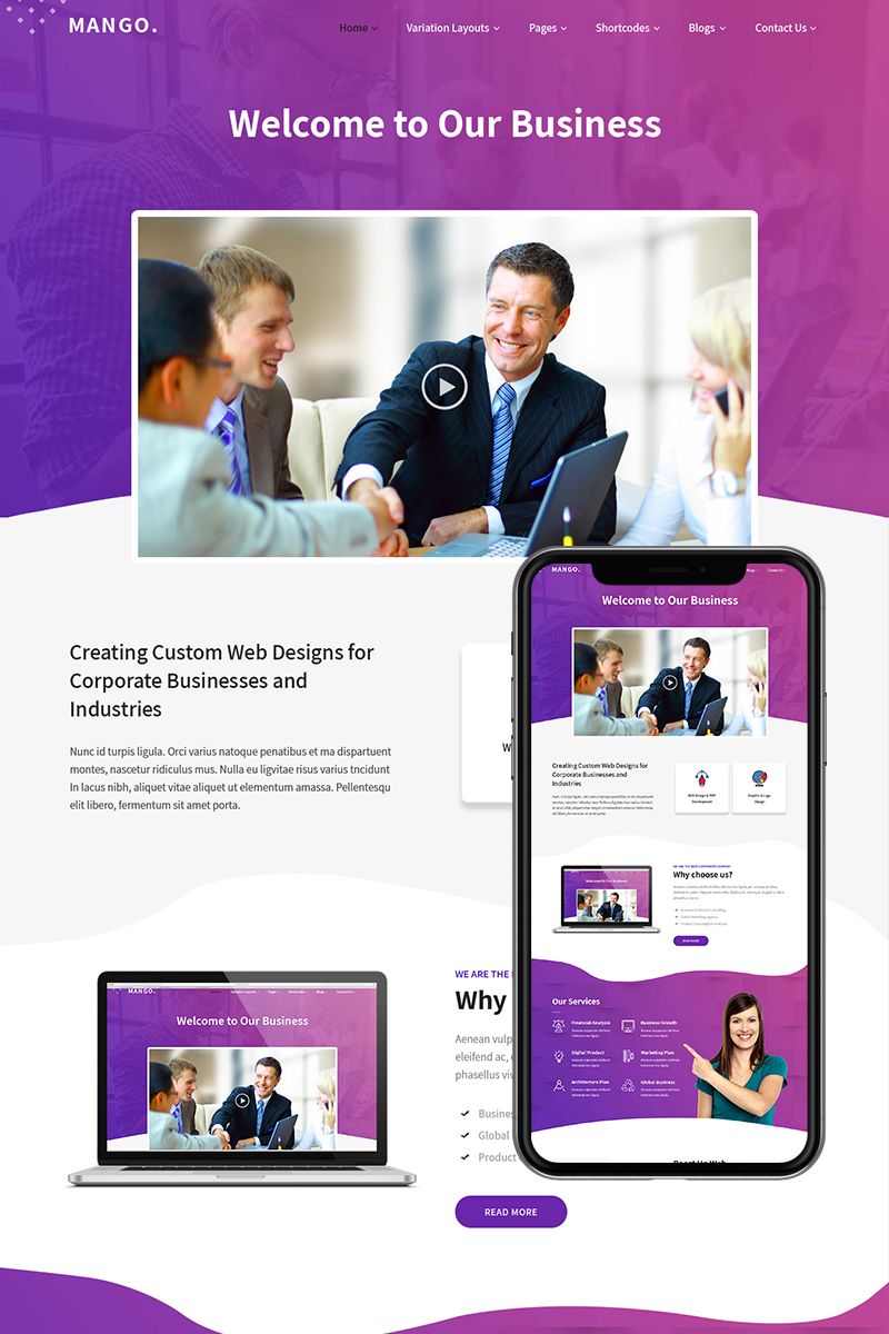 "Tema PSD Bootstrap #84960 ""Mango - Business Web Site"""