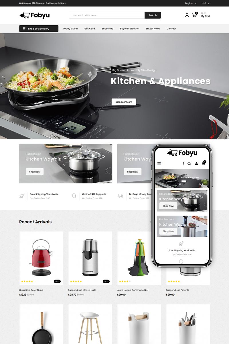"Template PrestaShop Responsive #84928 ""Fobyu - Kitchen Appliances"""