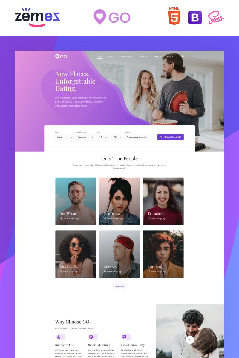 """Website Vorlage namens """"GO - Dating Agency Elegant Multipage HTML"""" #84931"""