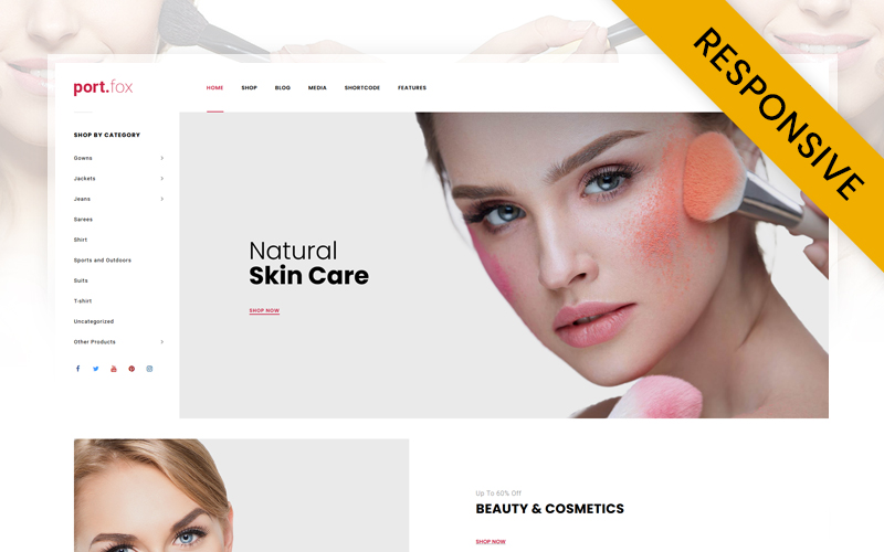 "WooCommerce Theme namens ""Portfox - Cosmetic Store"" #84993"