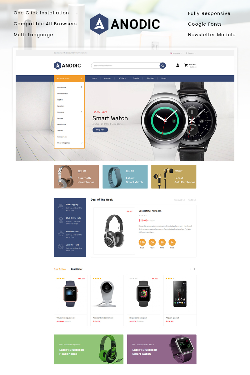 Anodic - Electronics Store OpenCart Template - screenshot