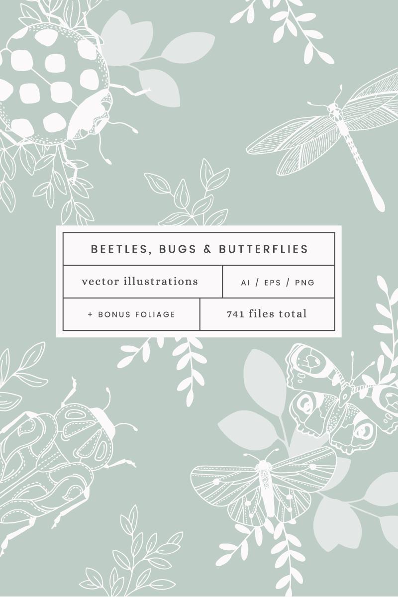 Beetles, Bugs & Butterflies Vector Illustration