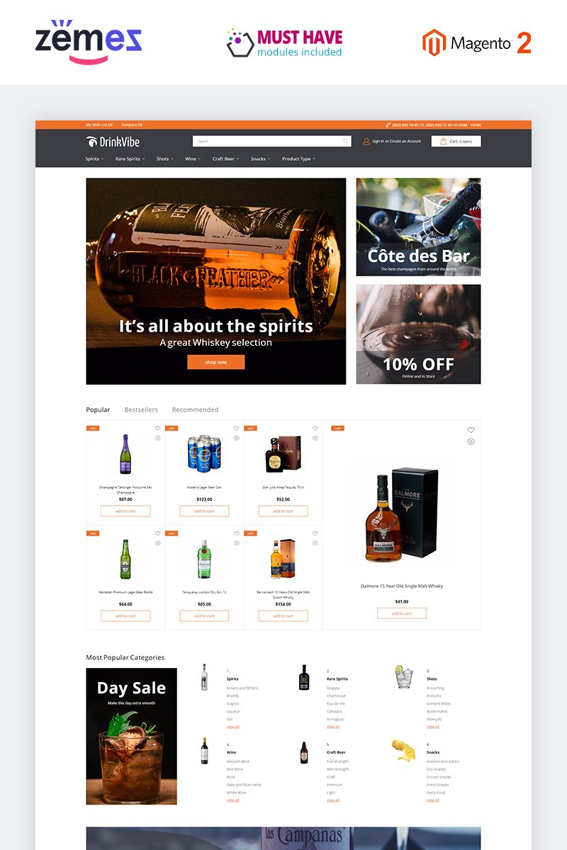 """DrinkVibe - Liquor Store Ready-to-Use Clean"" thème Magento adaptatif #85058"