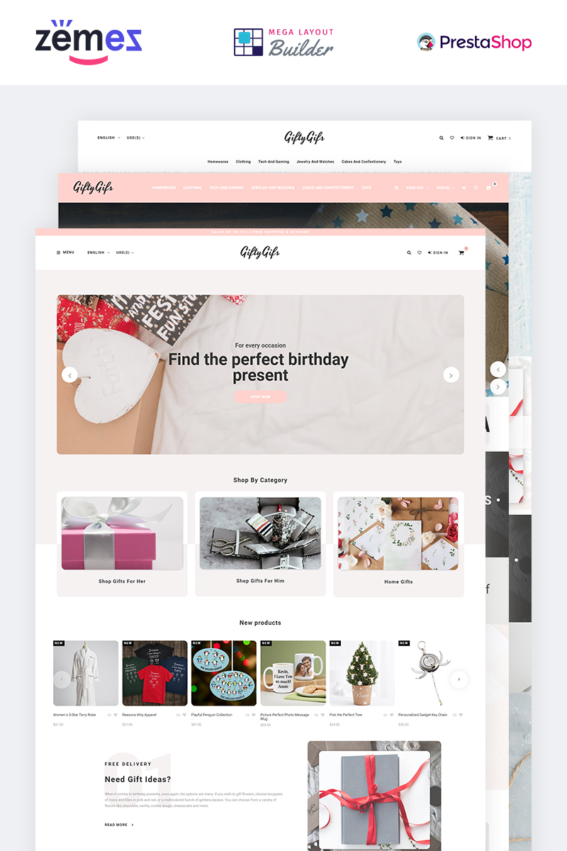 """""""GiftyGifts - Giftware Store Clean Bootstrap Ecommerce"""" Responsive PrestaShop Thema №85096"""
