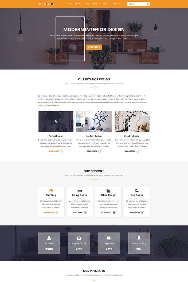 """H Interior - Interior Design & Architecture"" - адаптивний PSD шаблон №85072"