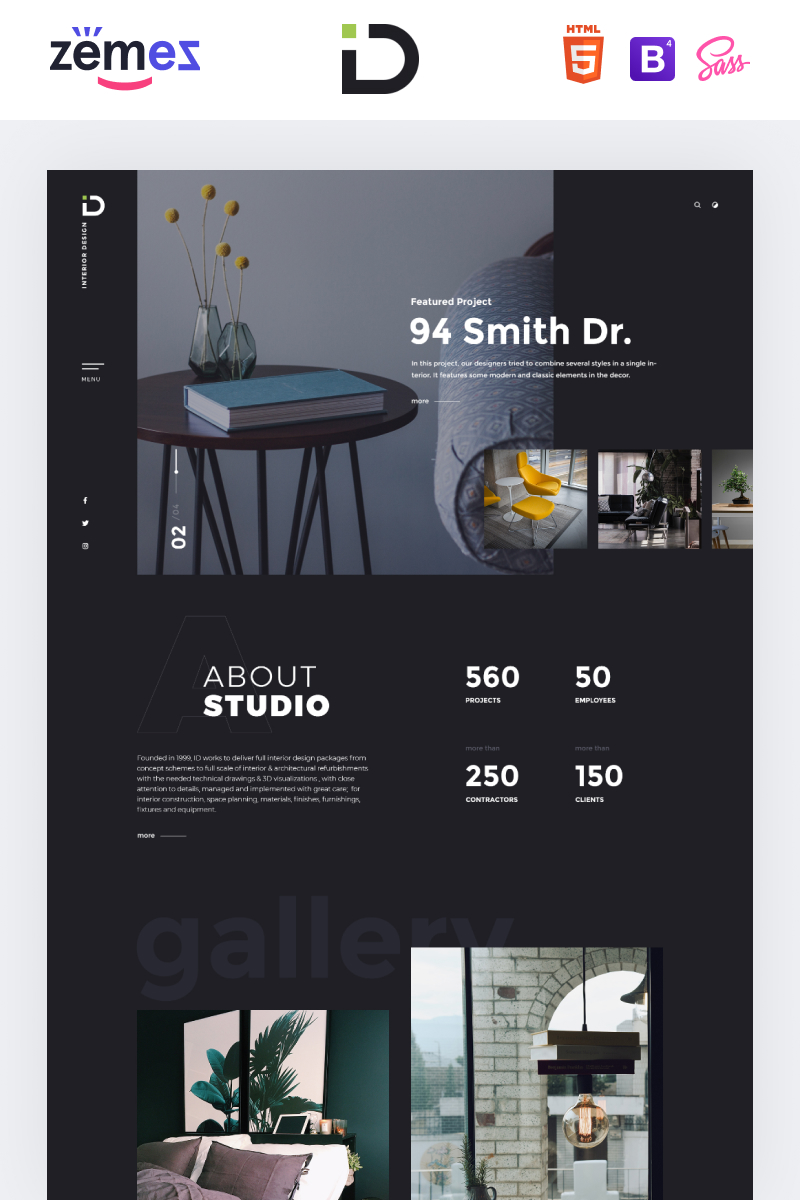 """Interior Design - Stylish HTML Bootstrap4"" Responsive Landingspagina Template №85059"