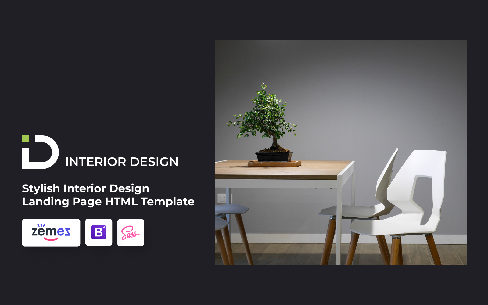 """Landing Page Template namens """"Interior Design - Stylish HTML Bootstrap4"""" #85059"""