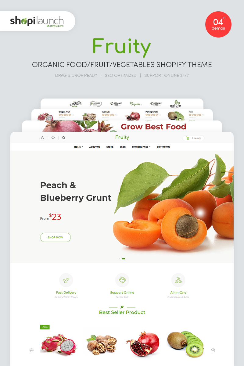 "Modello Shopify Responsive #85088 ""Fruity - Organic Food/Fruit/Vegetables"" - screenshot"