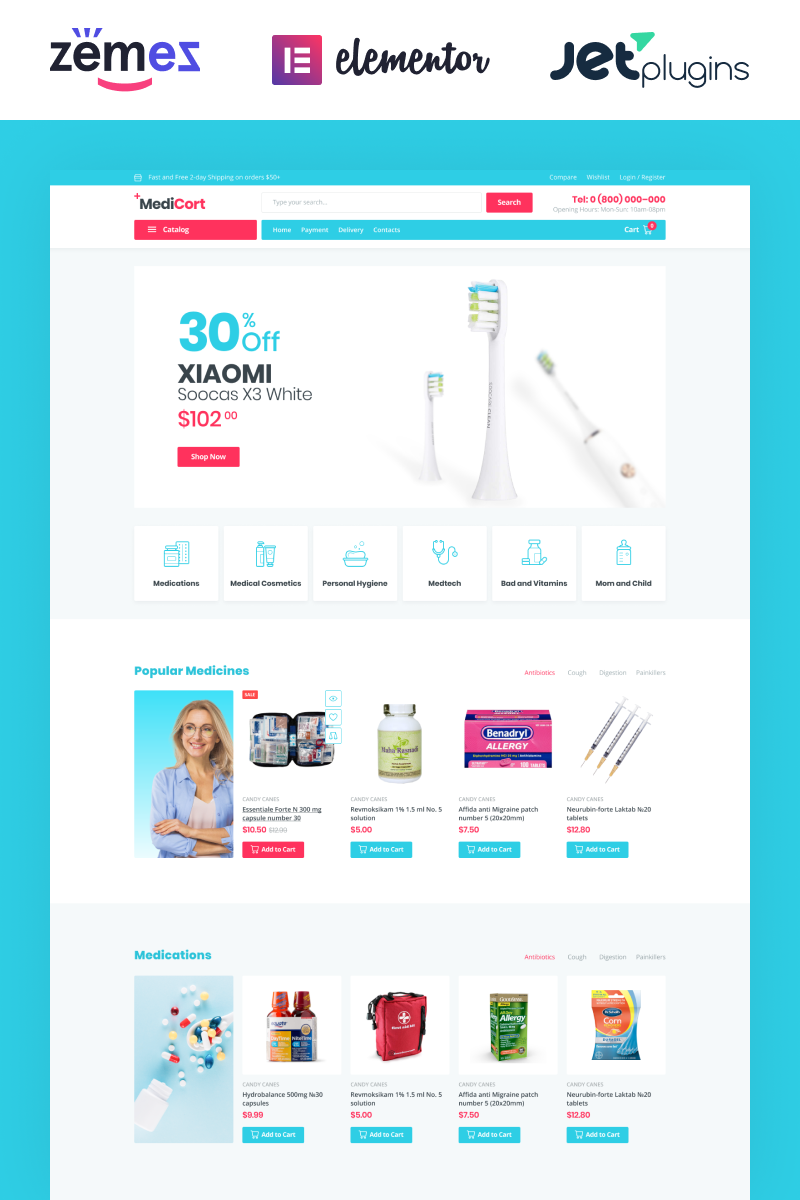 "Modello WooCommerce Responsive #85001 ""MediCort - Medical ECommerce Classic Elementor"""
