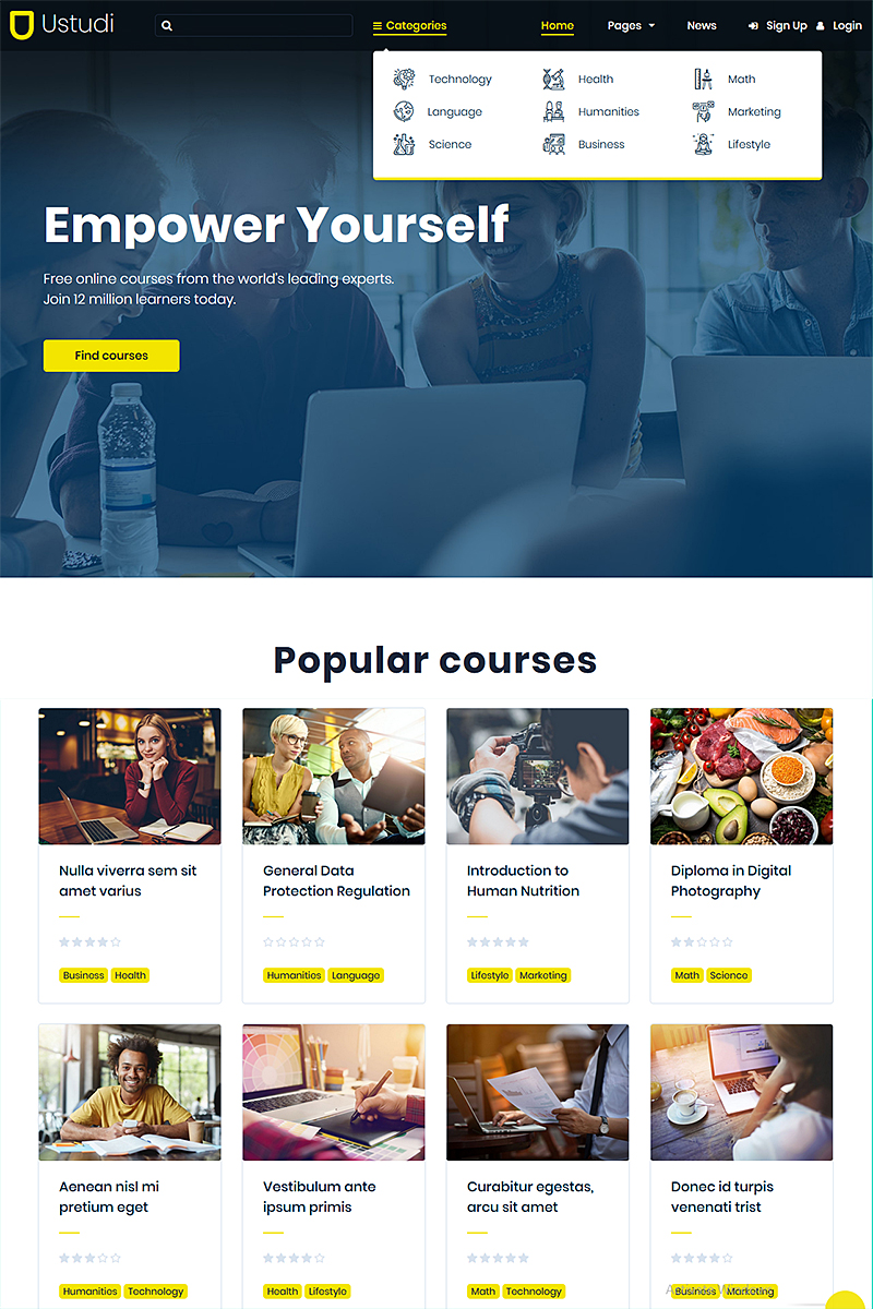 "Modello WordPress #85094 ""Ustudi - Online Courses Education & University"" - screenshot"
