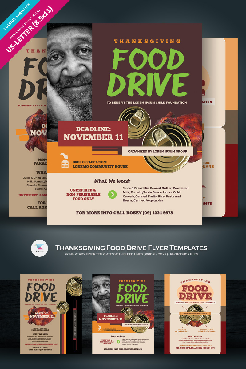 "Plantilla De Identidad Corporativa ""Thanksgiving Food Drive Flyer"" #85009 - captura de pantalla"