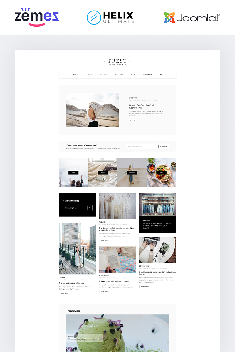 Prest - News Portal Multipage Creative №85093