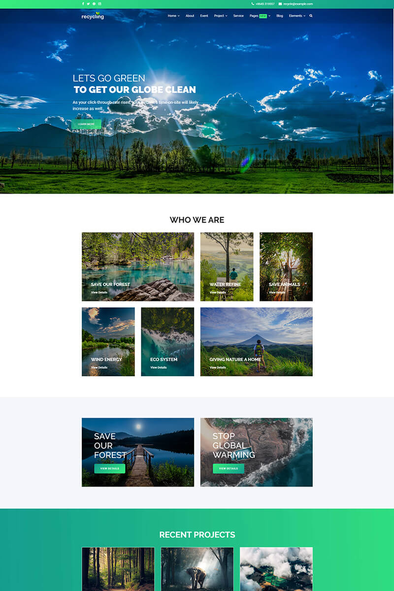 """Recycling - Nonprofit / Environmental"" Responsive Joomla Template №85078 - screenshot"