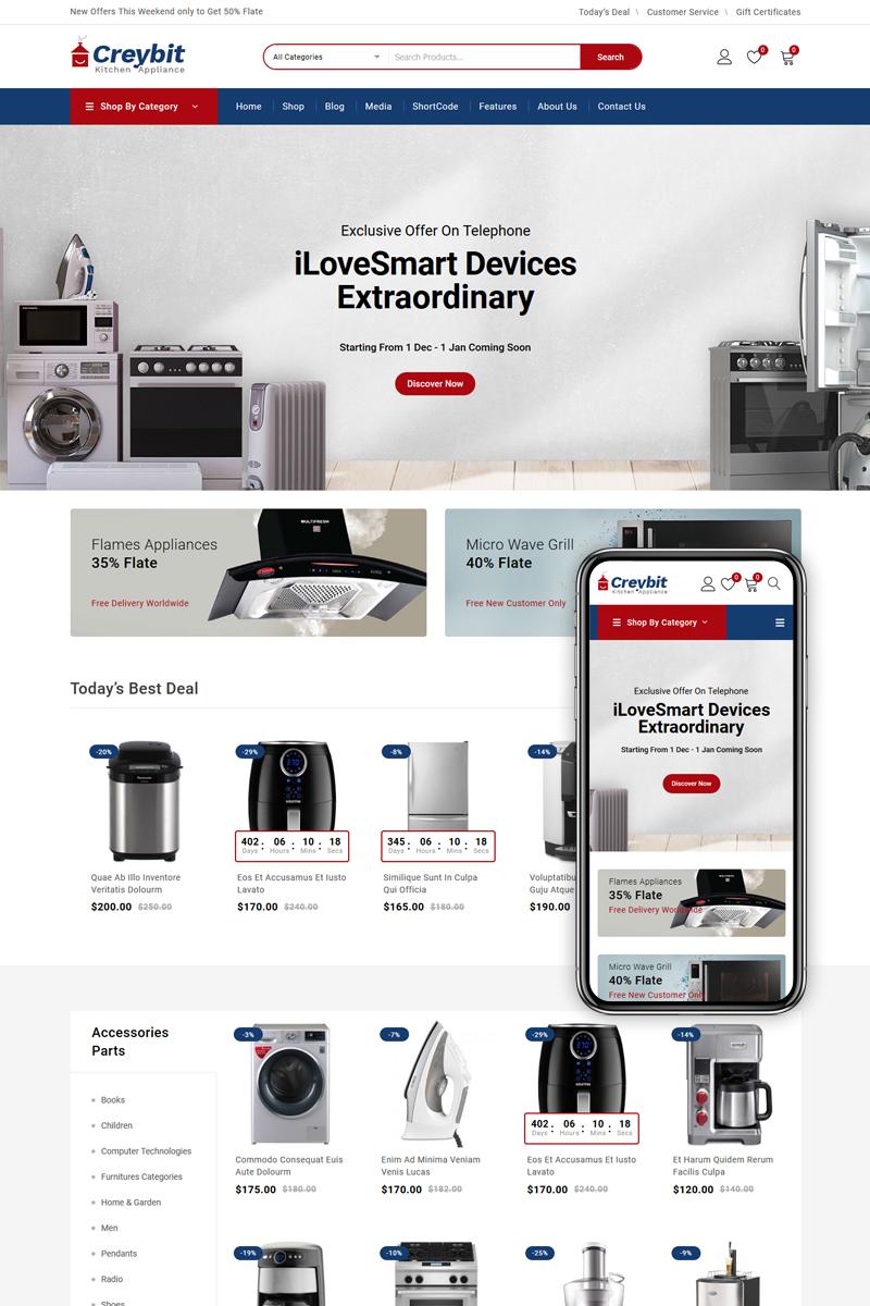 Responsivt Creybit - Home Appliances Store WooCommerce-tema #85087