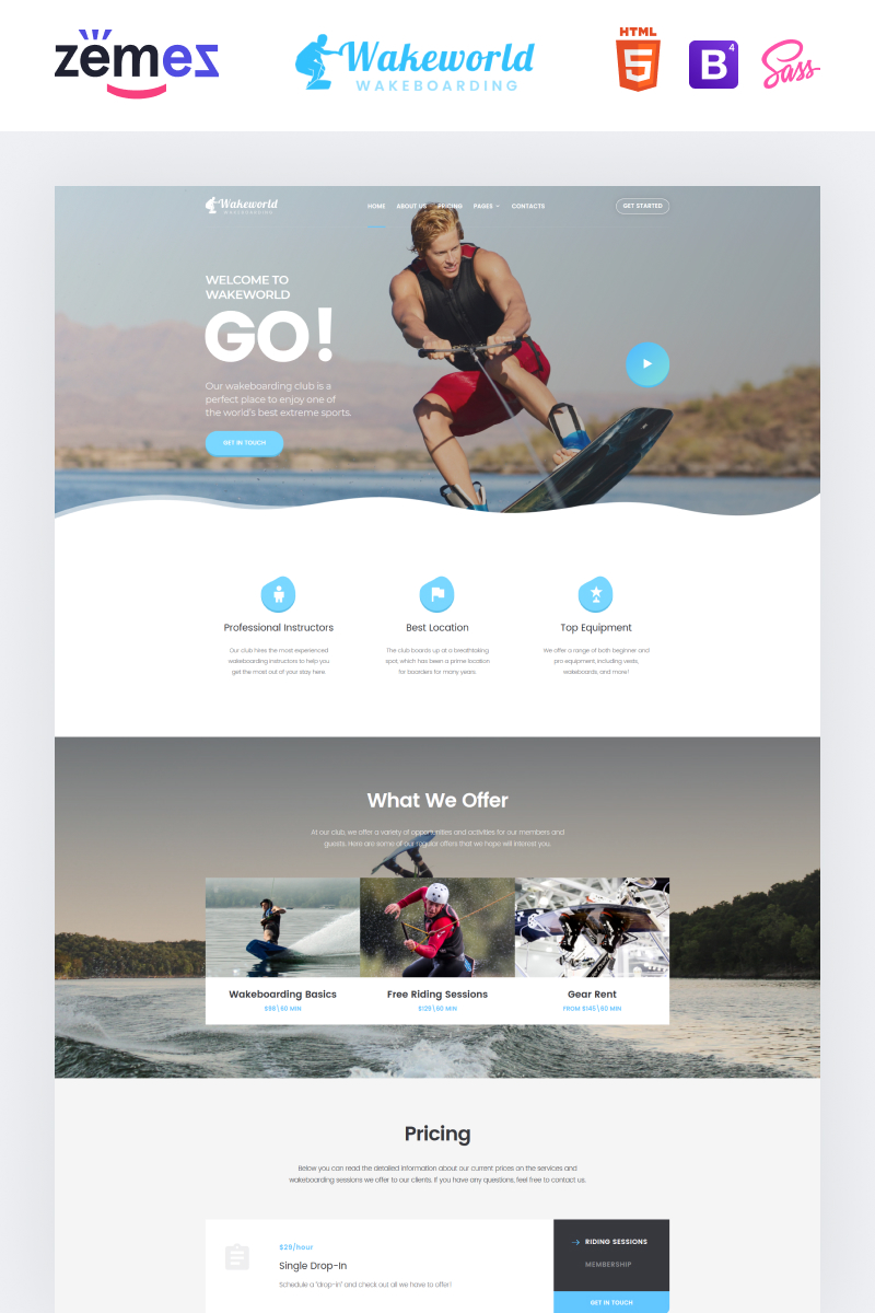 Responsivt Wakeworld - Surfing Multipage Creative HTML Hemsidemall #85053