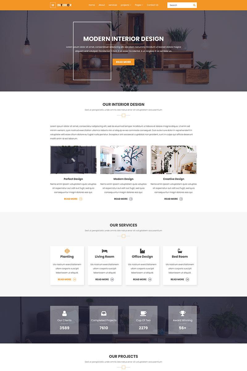 "Responzivní PSD šablona ""H Interior - Interior Design & Architecture"" #85072"