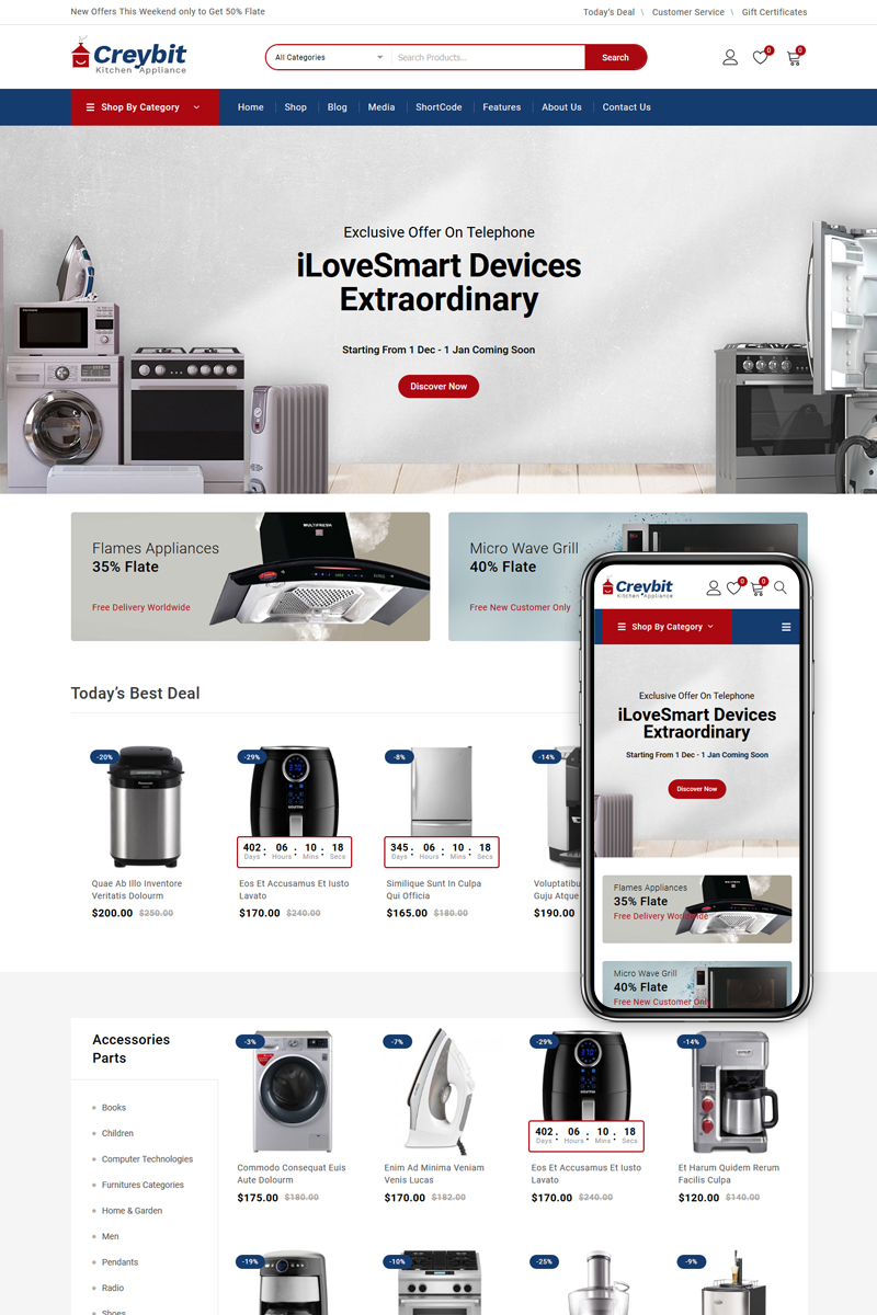 "Responzivní WooCommerce motiv ""Creybit - Home Appliances Store"" #85087"