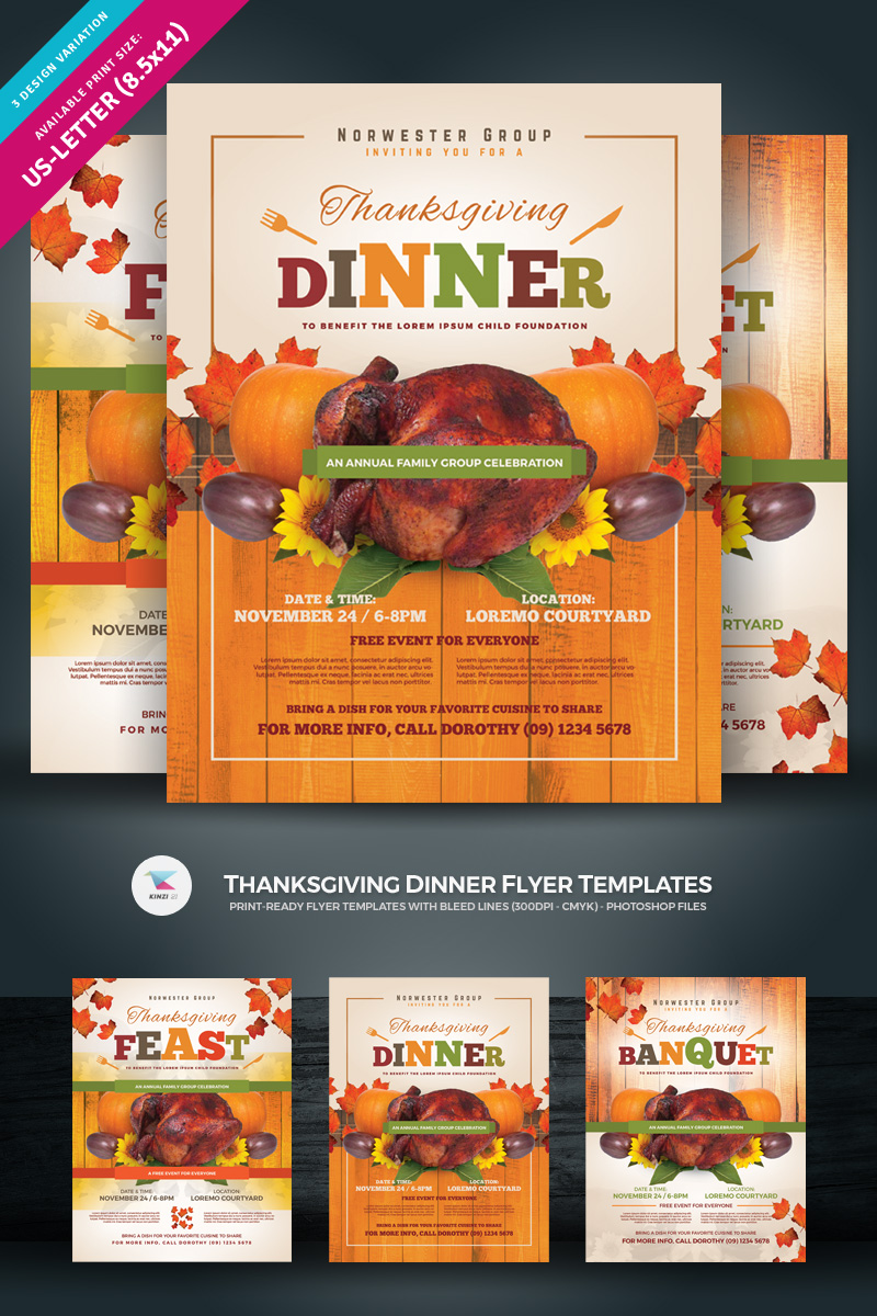 "Šablona firemního stylu ""Thanksgiving Dinner Flyer"" #85008 - screenshot"
