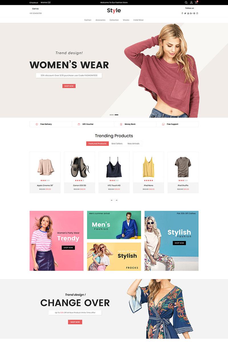 """Style Fashion"" 响应式OpenCart模板 #85066 - 截图"