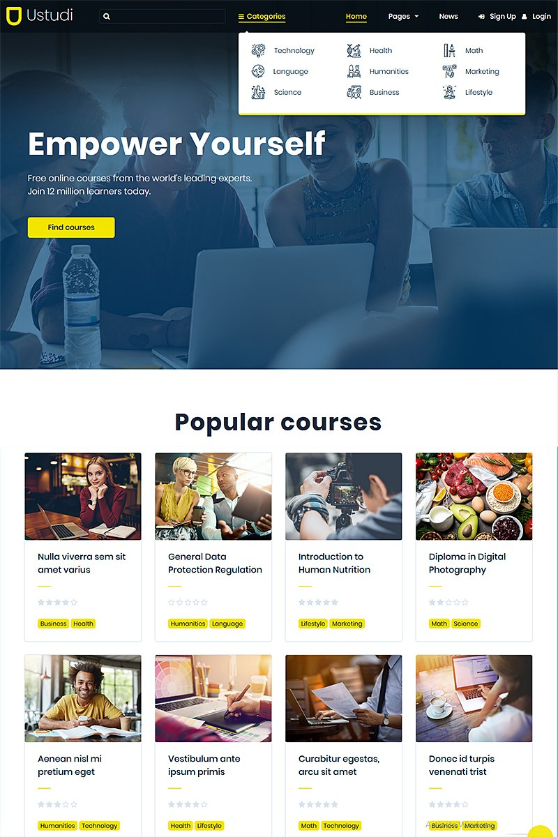 Ustudi - Online Courses Education & University WordPress Theme