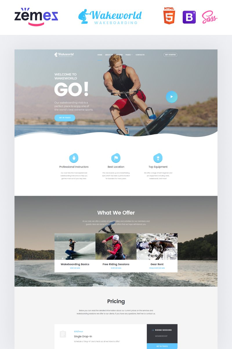"""Wakeworld - Surfing Multipage Creative HTML"" Responsive Website template №85053"
