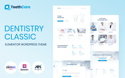 TeethCare - Dentistry Classic WordPress Elementor Theme WordPress Theme