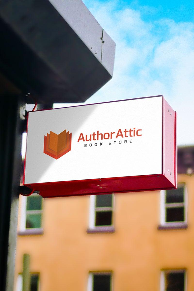 Author Attic Book Store Logo Template