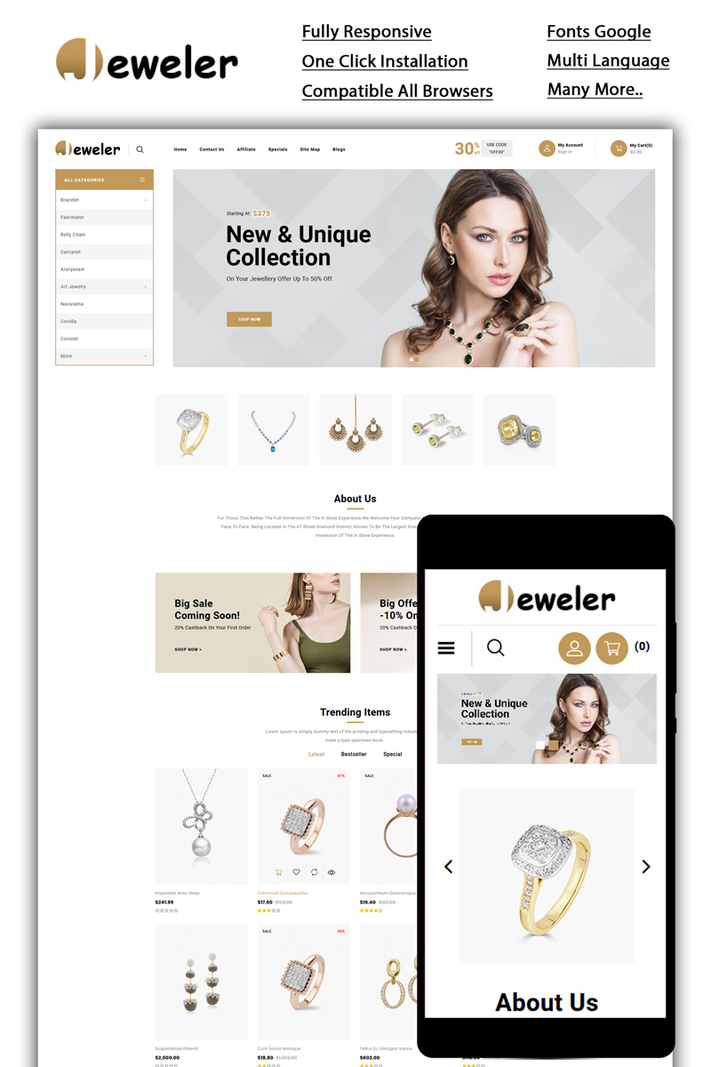 Bootstrap Jeweler - Online Store OpenCart-mall #85126