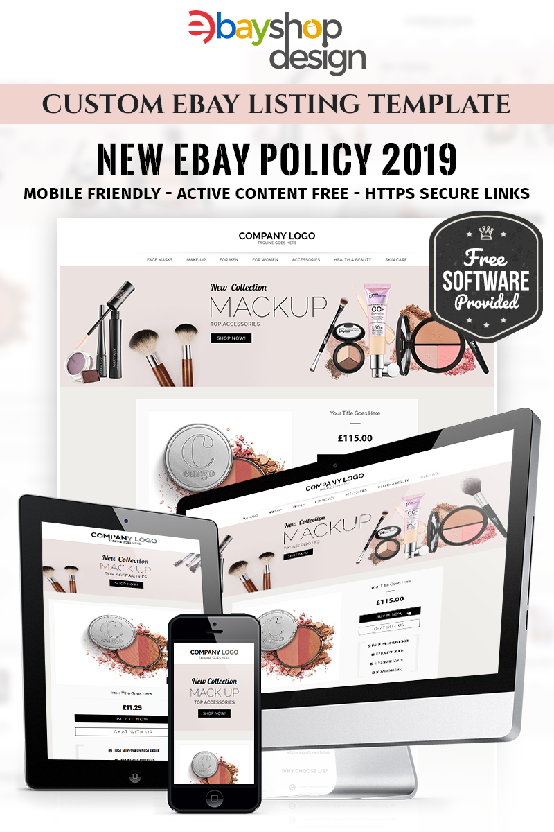 "EBay Vorlage namens ""Makup Listing Design V1"" #85121 - Screenshot"