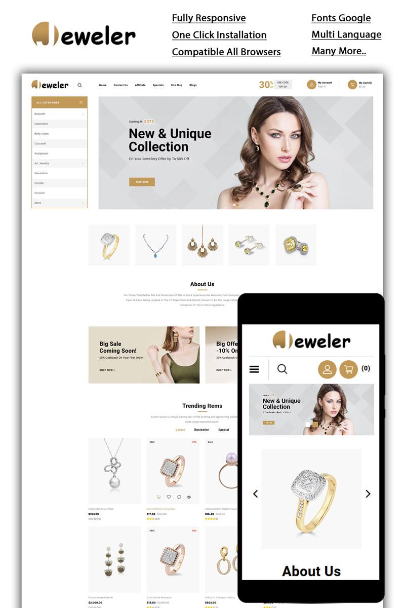 """Jeweler - Online Store"" BootstrapOpenCart模板 #85126"