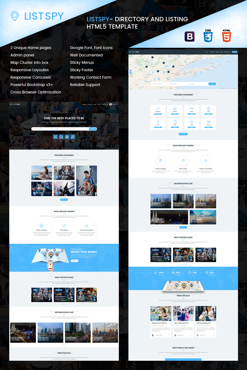 """Listspy - Directory & Listings"" Responsive Website template №85112"