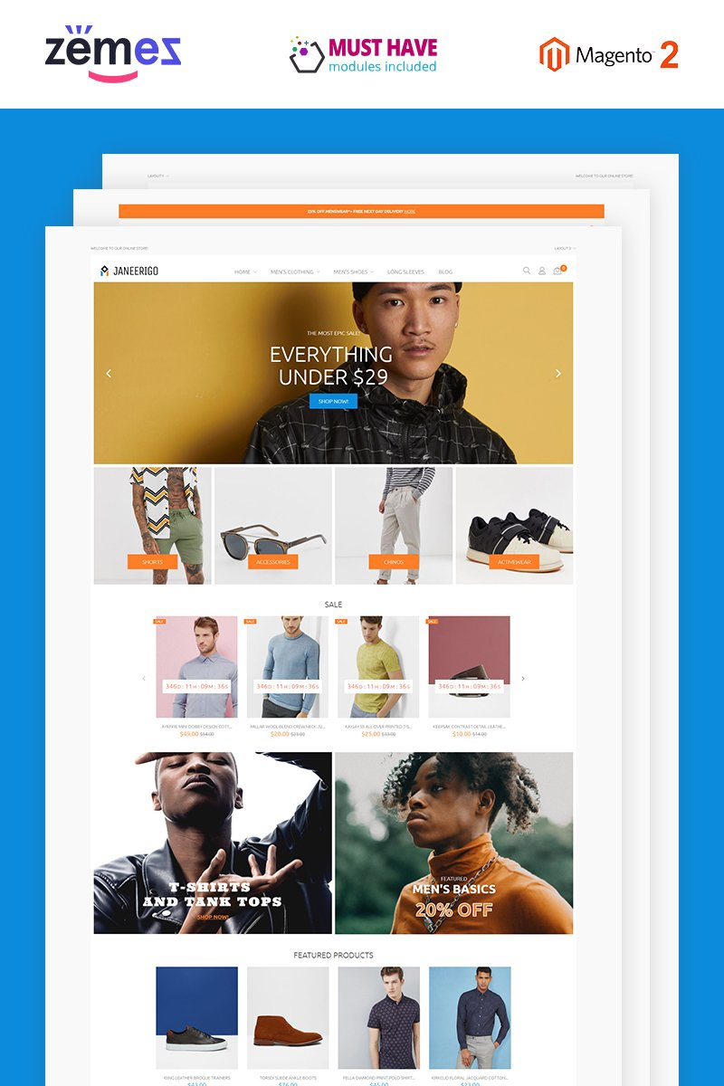 "Magento Theme namens ""Janeerigo - Men's Fashion Clean Stylish"" #85113"