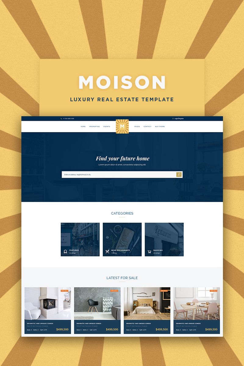 """""""Moison Real Estate Luxury"""" Responsive WordPress thema №85170"""