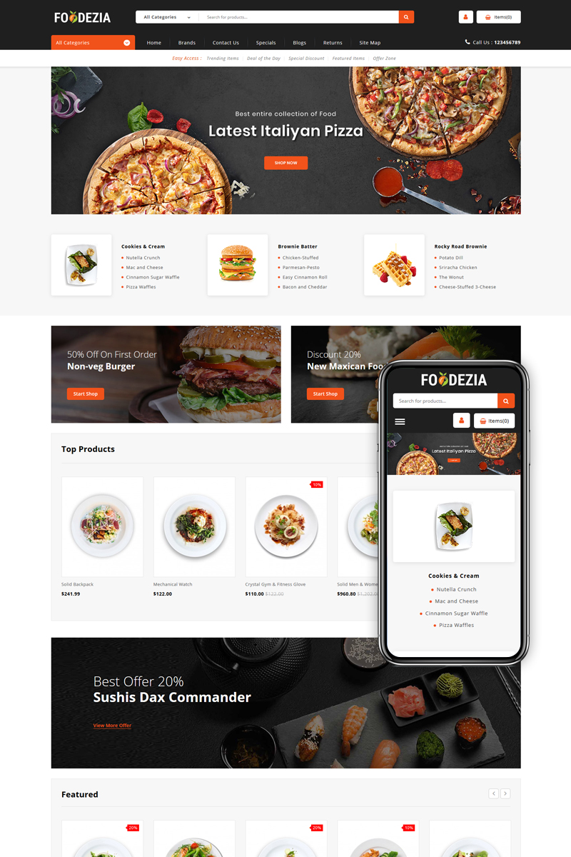 "OpenCart Vorlage namens ""Foodezia - Restaurant Store"" #85167"