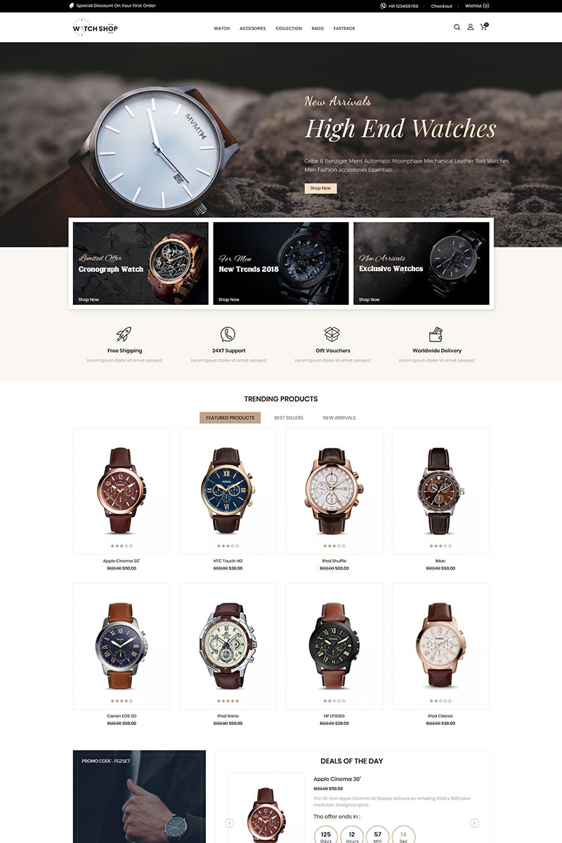 "Plantilla OpenCart ""Watch Store Responsive"" #85153 - captura de pantalla"