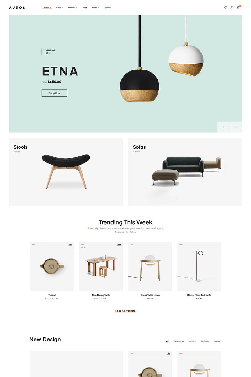 "PrestaShop Theme namens ""Auros - Furniture & Home Decor"" #85129 - Screenshot"
